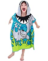 Shark Hooded Poncho Towel, Hepix Cute Blue Beach Pool Bath Towel for Boys