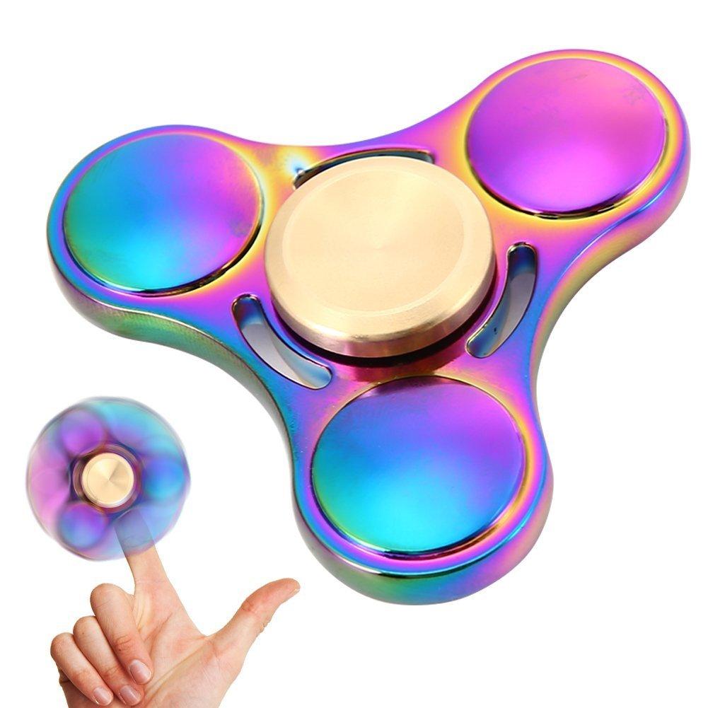 FidgetKool Hand Spinner ,Fidget Spinner Aluminium Tri Spinning Finger Toys Stress Anxiety ADHD Relief Toy