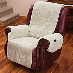 (Set/2) Recliner Chair Covers with Armrests and Pockets Natural - One Size