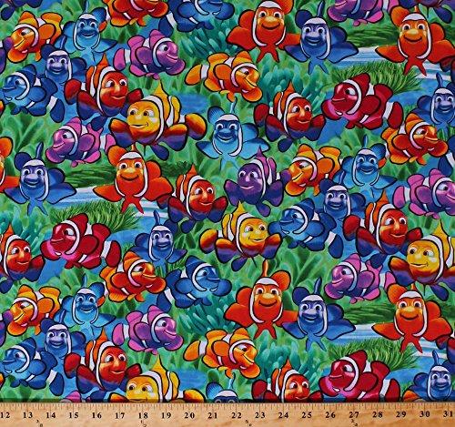 Cotton Rainbow Clownfish Clown Fish Tropical Ocean Sea Aquatic Animals Water Swimming Kids Children's Multi-Colored Cotton Fabric Print by the Yard (MICHAEL-C1824-MULTI)