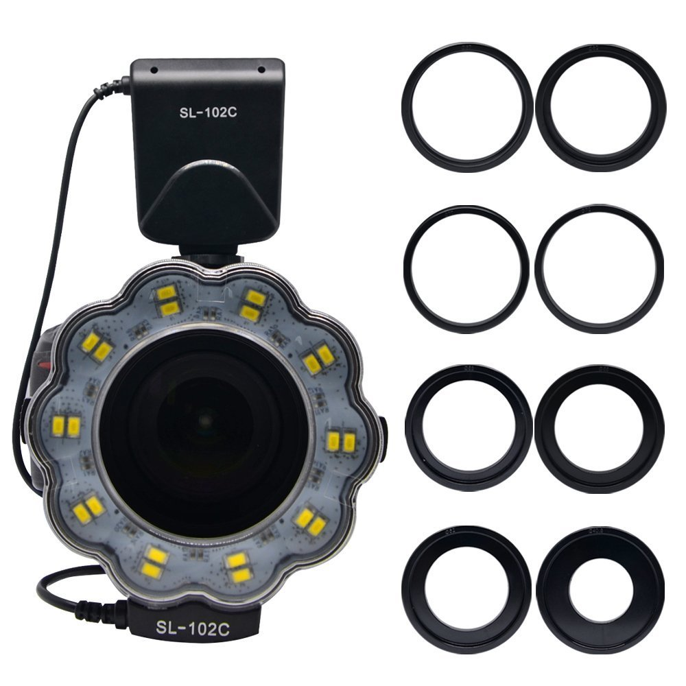 Venidice SL-102 Macro LED Ring Flash Light Flower Ring Flash Camera Ring Light with LCD Display for DSLR Cameras,Fit 40.5, 52, 55, 58, 62, 67, 72, 77mm Lens by Venidice