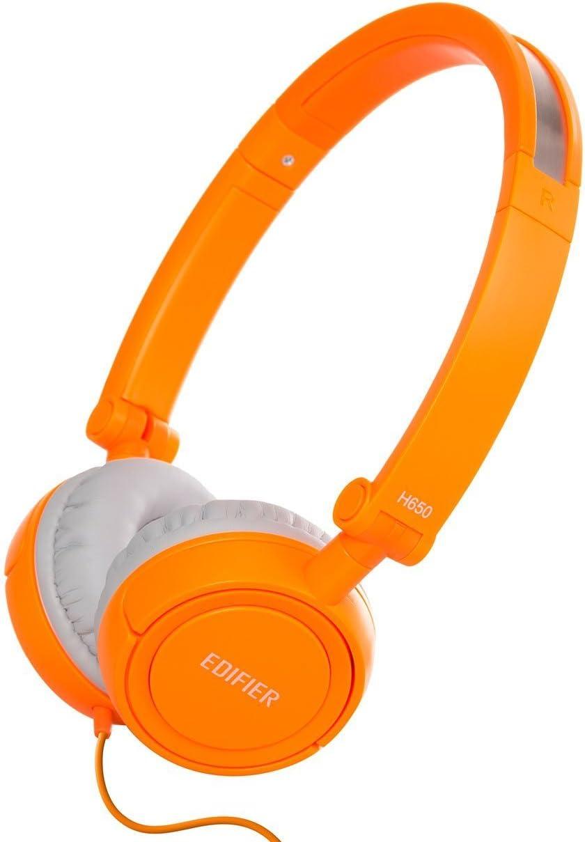 Edifier H650 Auriculares Hi-Fi On-Ear - Cascos de Diadema con Aislamiento de Ruido Plegables y Ligeros para Niños y Adultos - Diadema Ajustable - Naranja