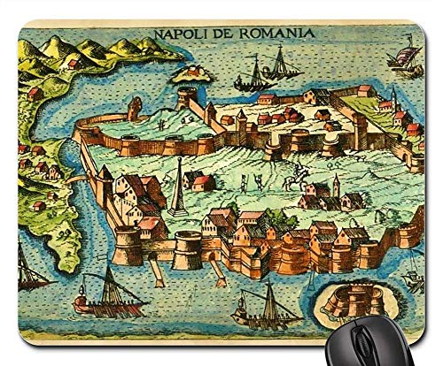 (Mouse Pads - Medeival Ancient Map Fortress Island Seaport Town)