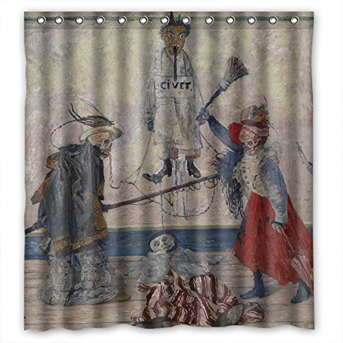 SUNSMILES Polyester Art Painting James Ensor - Skeletons Fighting For The Body Of A Hanged Man Christmas Shower Curtains Width X Height / 66 X 72 Inches / W H (Mole Skeleton)