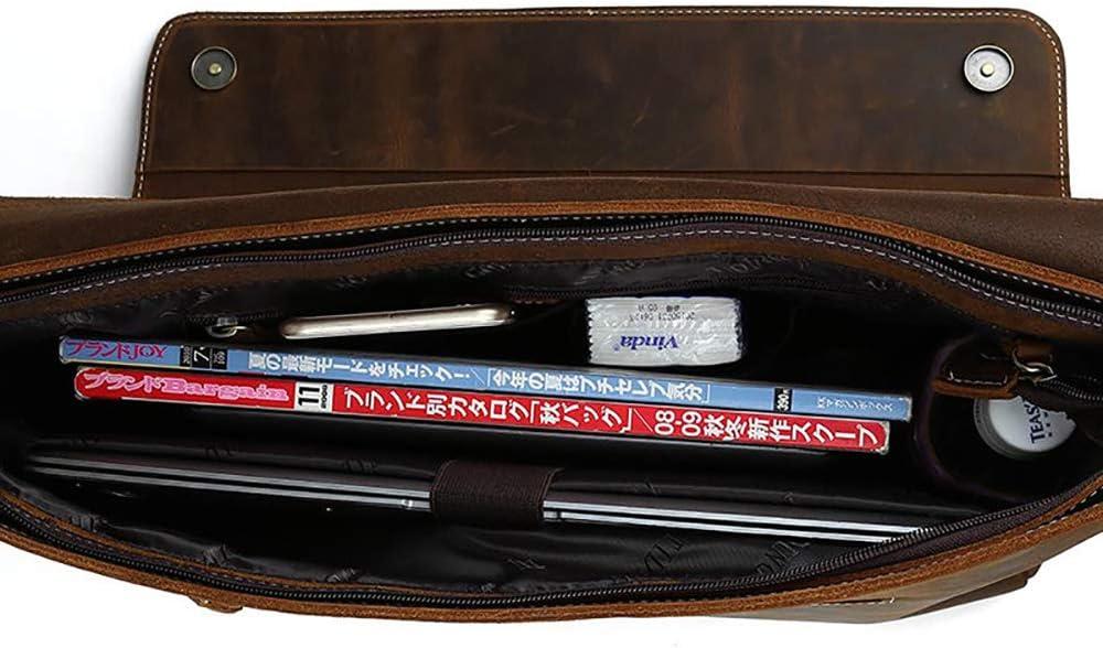 Zhouminli Vintage Leather Tote Briefcase Tote Bag Briefcase Retro Crazy Horse Leather Crossbody Bag Mens Briefcase 15.6 Inch Computer Shoulder Bag