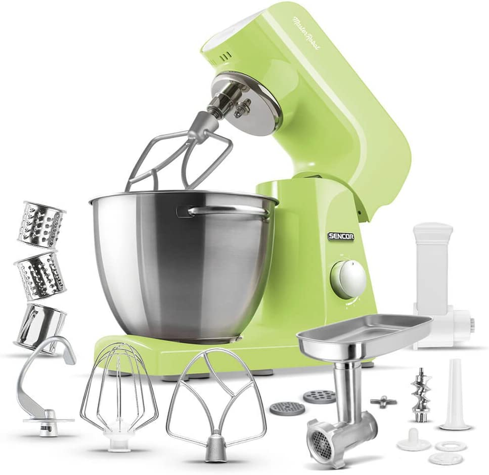 Sencor STM47GG Full Metal 500W Stand Mixer with Variable Speed Control and 6 Specialized Attachments, 4.75 Qt, Lime Green