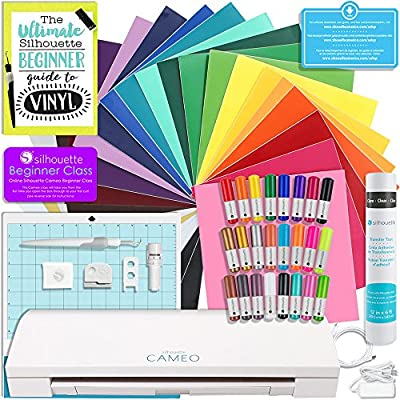 Silhouette Cameo 3 Bluetooth Starter Bundle with 24 Oracal 651 Sheets, Transfer Paper, Guide, Class, 24 Sketch Pens from Silhouette America