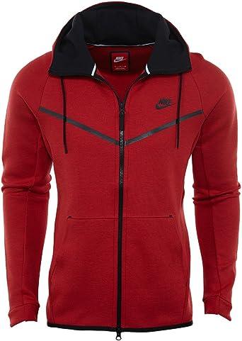 Amazon Com Nike Mens Sportswear Tech Fleece Windrunner Hooded Sweatshirt University Red Black 805144 654 Size X Large Clothing