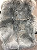 Deluxe Soft Faux Sheepskin Chair Cover Seat Pad Shaggy Area Rugs For Bedroom Sofa Floor (5ft x 7ft, Grey)