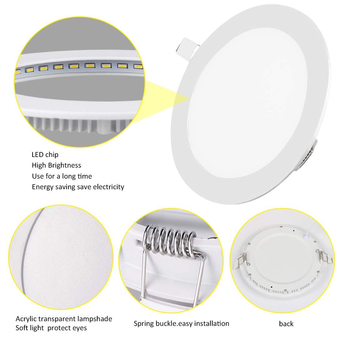 2 Pack LED Panel Light 4W 6500K Recessed Light Panel Round Ultra Slim Flat Panel Light Indoor Lighting for Home Living Room Bedroom Bathroom Office Corridor Hallways