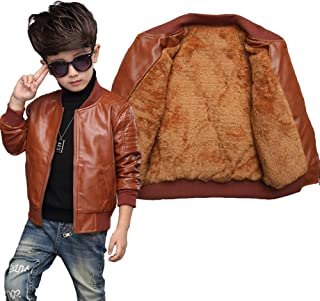 Leoie Children Boys Zipper PU Jacket Fashionable Winter Warm Fleeced Coat Top Kids