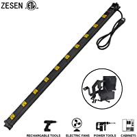 Zesen 10 Outlet Heavy Duty Workshop Metal Power Strip Surge Protector with 4ft Heavy Duty Cord (Black)