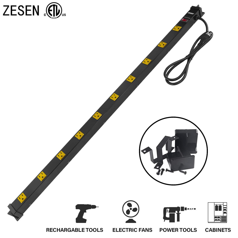 ZESEN 10 Outlet Heavy Duty Workshop Metal Power Strip Surge Protector with 4ft Heavy Duty Cord, ETL Certified, Black