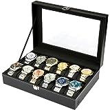 Caja de almacenamiento de piel sintética negra y tapa de cristal de H&S® con 12 compartimentos pararelojes y joyas