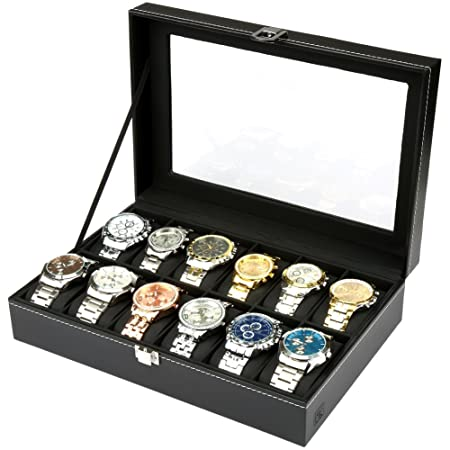 Hs glass lid 12 watch jewellery display storage box case bracelet hs glass lid 12 watch jewellery display storage box case bracelet tray faux leather black solutioingenieria Image collections