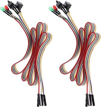Gazechimp 2X Cable De Interruptor De Reinicio De Encendido De La Caja De La Computadora De Escritorio ATX con Luz LED HDD: Amazon.es: Electrónica