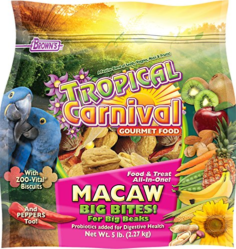 Tropical Carnival F.M. Brown's Gourmet Macaw Food Big Bites for Big Beaks, Vitamin-Nutrient Fortified Daily Diet with Probiotics for Digestive Health
