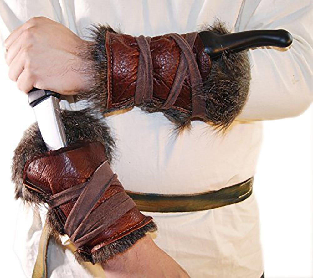 Medieval-Larp-SCA-Pagan-Reenactment-Cosplay-Barbarian LARP REAL LEATHER & FAKE FUR ARM BRACERS