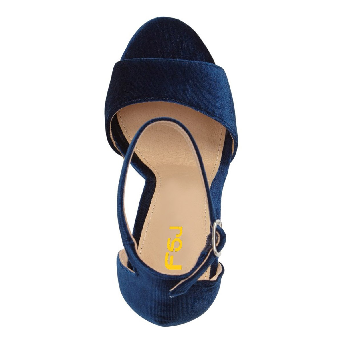 FSJ Women Sexy Ankle Strap Platform Sandals Chunky High Heel Open Toe Velvet Shoes Size 4-15 US B0786DG9Z1 8 B(M) US|Navy Blue