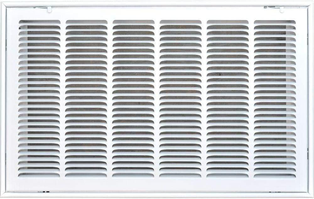 """24"""" X 14 Steel Return Air Filter Grille for 1"""" Filter - Fixed Hinged - Ceiling Recommended - HVAC Duct Cover - Flat Stamped Face - White [Outer Dimensions: 26.5 X 15.75]"""
