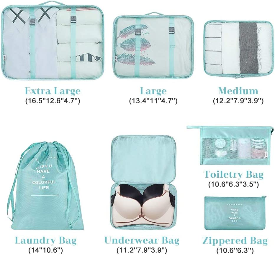 Waterproof Travel Luggage Organizer Multi-functional Clothing Sorting Storage Bag Foldable Suitcase Set with Laundry Bag and Toiletry bag 7Pcs Packing Cubes for Travel