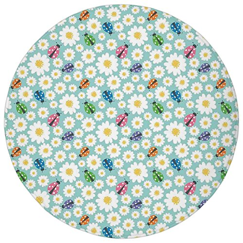 Ladybugs Good Luck - Round Rug Mat Carpet,Ladybugs,Colorful Daisies and Ladybirds Image Good Luck Charm Discover Your True Self Concept,Multi,Flannel Microfiber Non-slip Soft Absorbent,for Kitchen Floor Bathroom