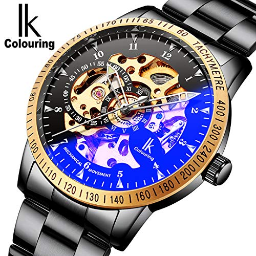 (Casual Dress Black Steel Gold-tone Skeleton Mechanical Wrist Watch for Mens Coated Glass Automatic )