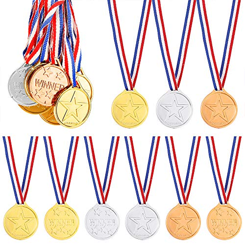 Pllieay 24 Pieces Winner Medals Gold Silver and