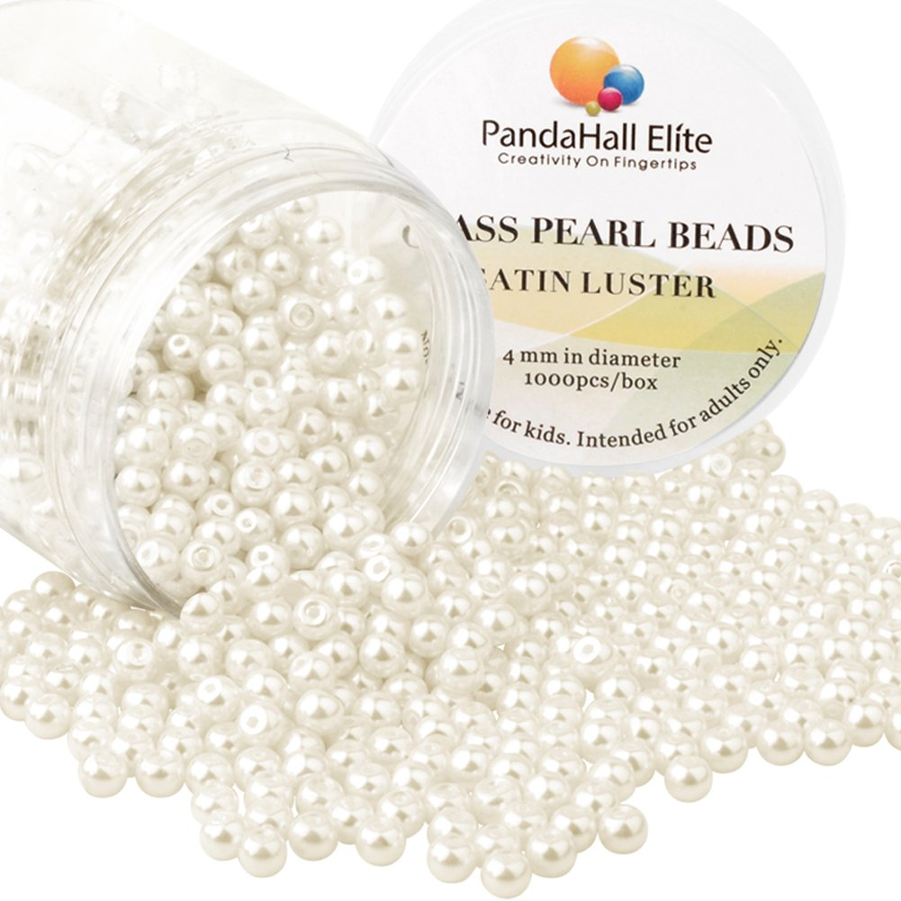 PH PandaHall 1000 Pcs 4mm Tiny Satin Luster Glass Pearl Bead Round Loose Spacer Beads for Earring Bracelet Necklace Waist Chain Jewelry Making, Cream White