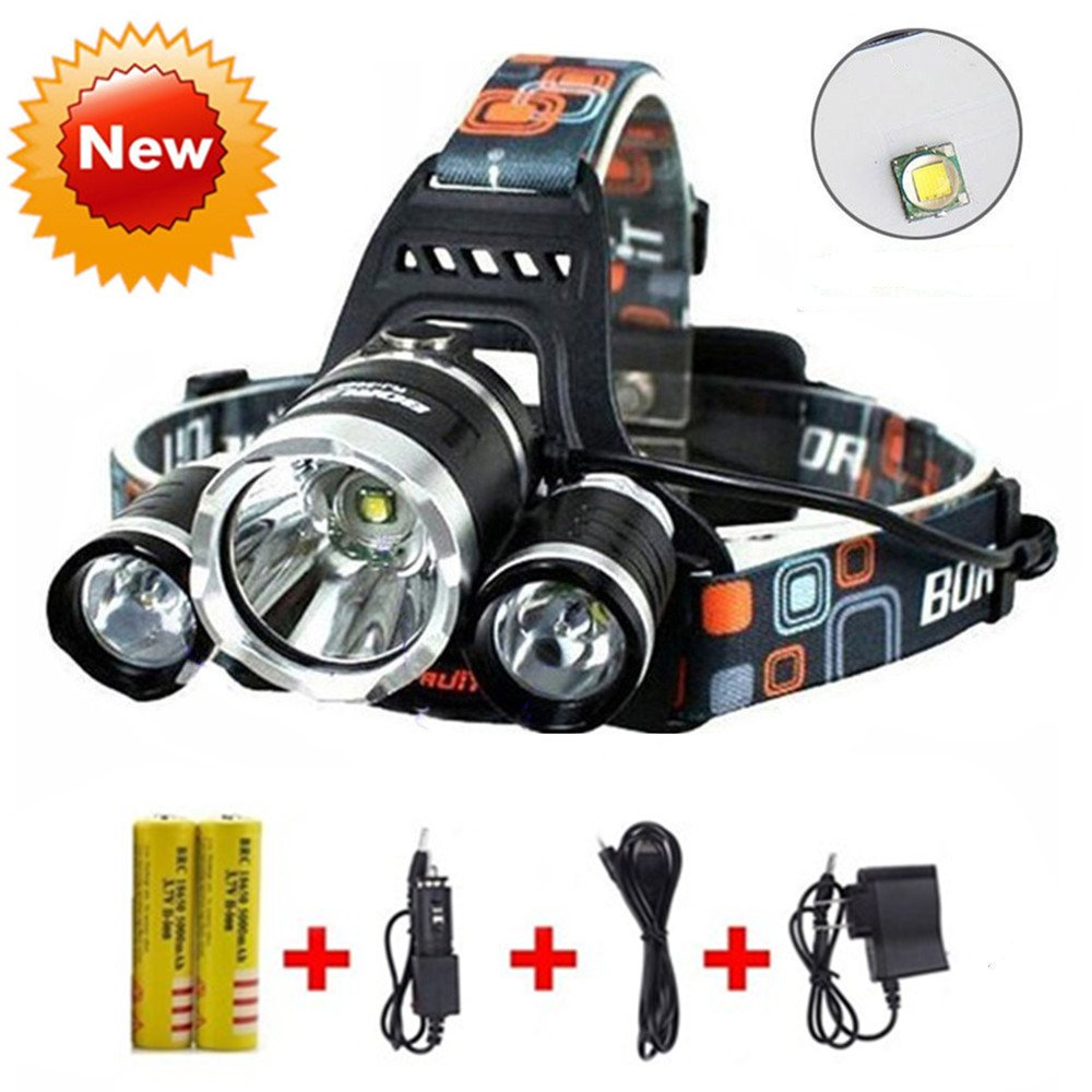 Brightest and Best LED Headlamp 10000 Lumen flashlight - IMPROVED LED, Rechargeable 18650 headlight flashlights, Waterproof Hard Hat Light, Bright Head Lights, Running or Camping headlamps … by HONG (Image #1)