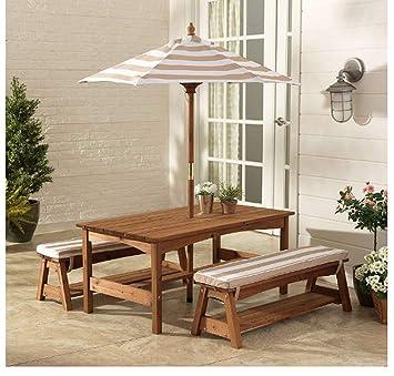 Amazon.com: Mesa de banco de pícnic con paraguas para niños ...