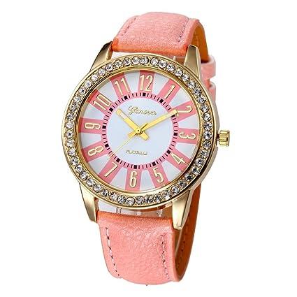 Xinantime Relojes Mujer,Xinan Reloj Cuarzo Acero Inoxidable Analógico PU Cuero (Rosa)