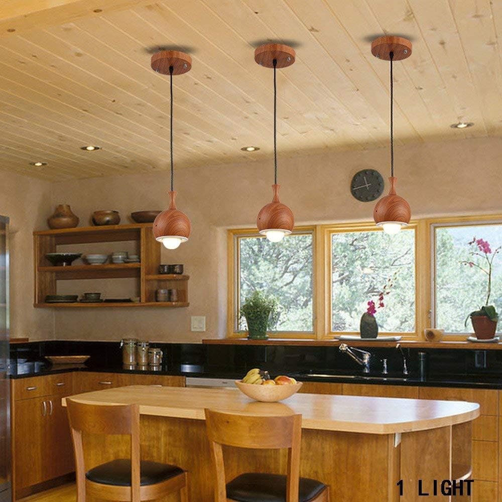 Einfache, Moderne Restaurant 5 Kopf\\3\\\\Einem Kopf Holz Kunst Kronleuchter Kreative Pastorale Led Bar Kronleuchter Beleuchtung Dekorative Leuchten (Farbe  Single Head)