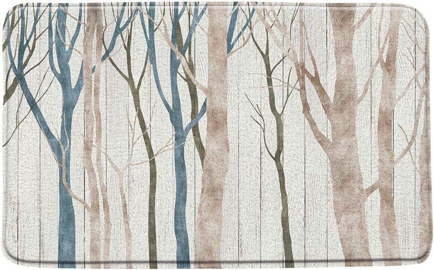 "Print Microfiber Memory Foam,Abstract Birch Forest Vintage Hand Painted Retro Rustic Woodland Vintage Farmhouse Soft Home Office Door Bathroom Mat/Bath Rugs - Non Slip,19.7""X31.5"""