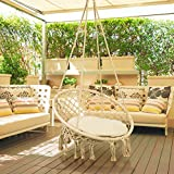 This hammock chair is unique as it has a more circular shape and is accompanied by macrame tassels. From the bedroom to the patio, this swing is a cozy way to enjoy every minute of your leisure time.  Why do you choose our Hanging Chair Swing Hammock...