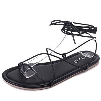 Damenschuhe Sommer Sandalen flach mit weichen Zehe Schuhe Kreuzgurte Bequeme Strandschuhe schwarz hellbraun GAOLIXIA