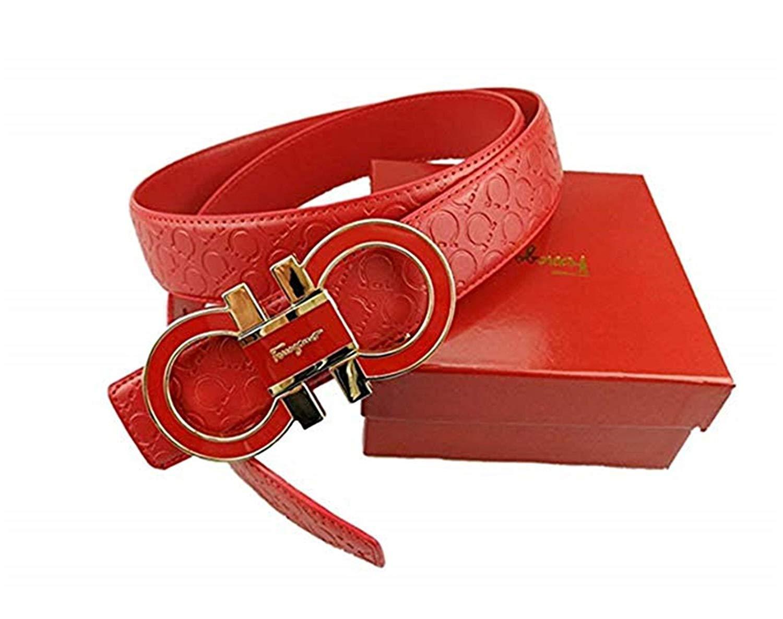 2734bbf88b45 Amazon.com  Salvatore Ferragamo Adjustable Belt Red with Gold Buckle   Sports   Outdoors