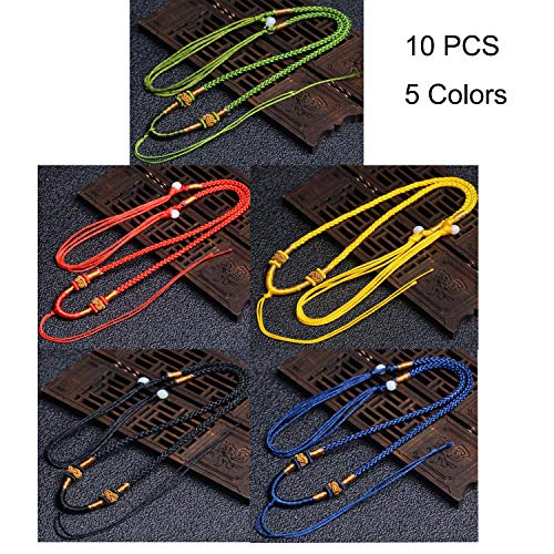 Pack of 10 Jade Rope Strings Cords Emerald Rope for Necklace and Jewelry Making, Handmade Jade Pendant Adjustable Braided Necklace Rope Cord Ethnic Style Ornaments Accessories, 5 Colors