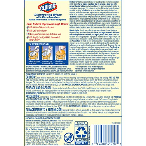 Clorox Disinfecting Antibacterial Wipes with Micro-Scrubbers, Crisp Lemon - 70 Count - 4