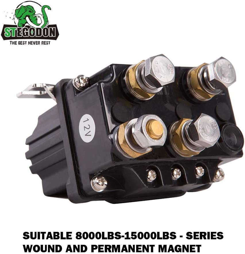 STEGODON 12V 500A Winch Solenoid Contactor Relay for 8000lbs-15000lbs ATV UTV Truck 4WD 4x4 Winch Replacement
