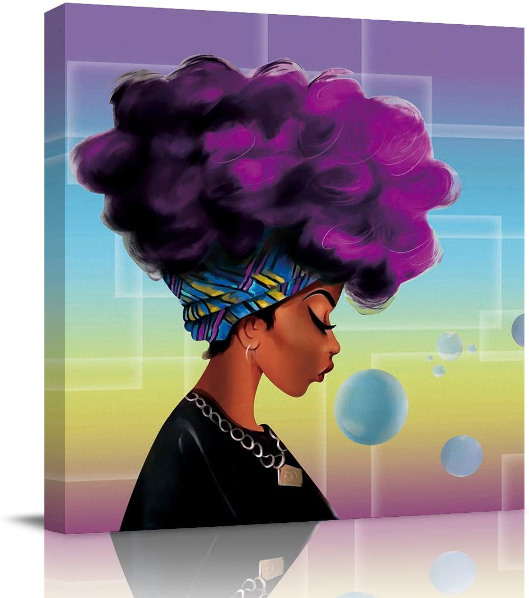 Sailground Canvas Wall Art Abstract Traditional African Black Women with Purple Hair Afro Hairstyle Prints Square Artwork Framed for Home Decoration Ready to Hang,Retro 12x 12inch