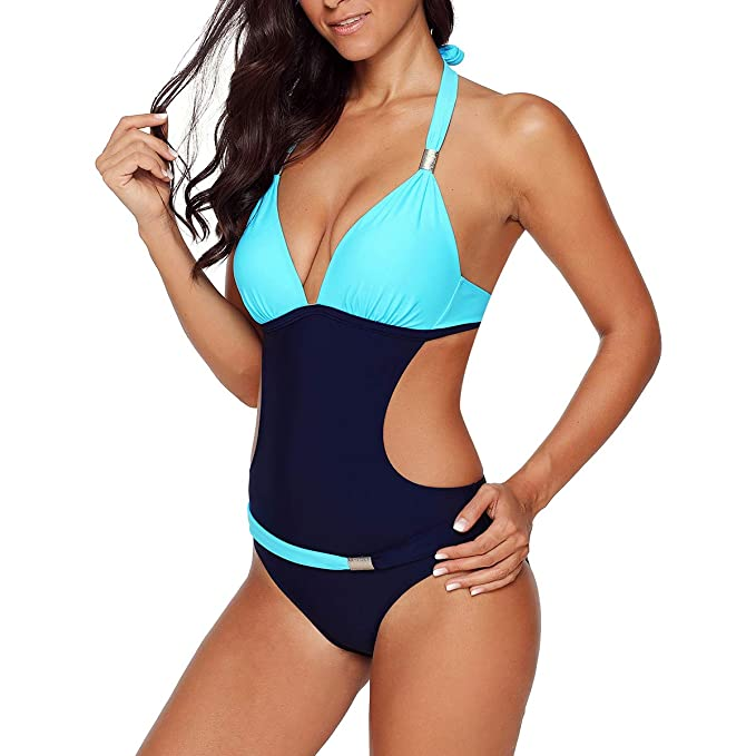 Women One Piece Bikini Monokini Halterneck Swimsuit Swimwear Swimming Costume
