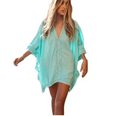 Monissy Damen Strandkleid Bikini Tunika Cover Up Baumwolle und ...