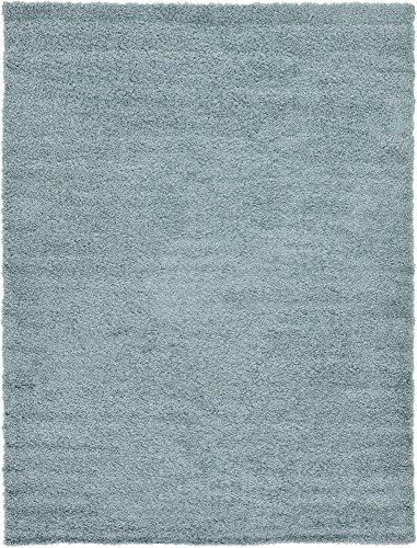 Unique Loom Solo Solid Shag Collection Modern Plush Light Slate Blue Area Rug (7' 0 x 10' 0)