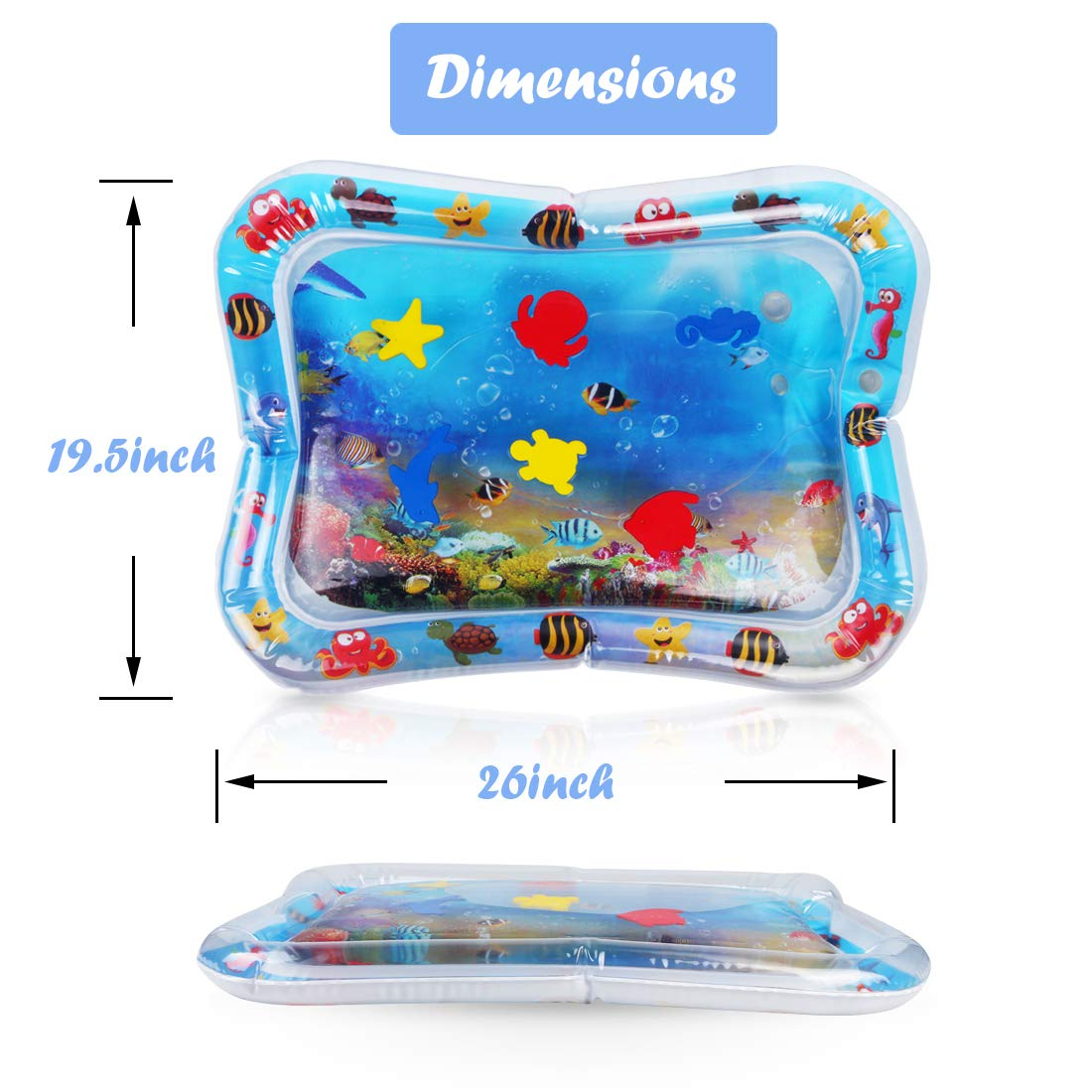 blue Fanuk Inflatable Tummy Time Baby Play Mat for Kids Infants as Fun Time Play Activity Center Your Babys Stimulation Growth