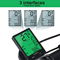 Vbestlife Computadora inalámbrica para Bicicletas - Cuentakilómetros para Bicicleta a Prueba de Agua Multifunción con cuentakilómetros con retroiluminación Pantalla LCD de 2.8 ''