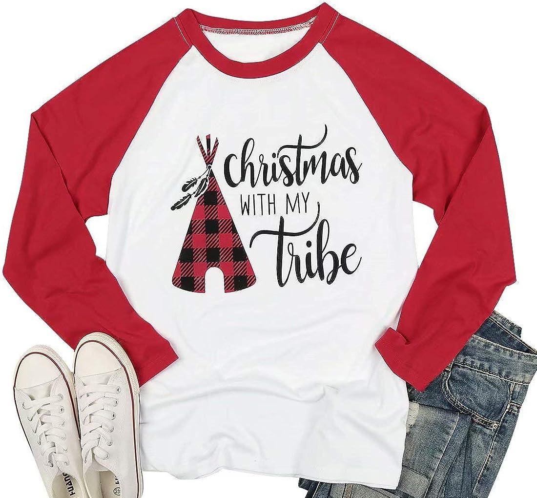Camiseta de Manga Larga para Mujer con Texto en inglés Christmas with My Tribe