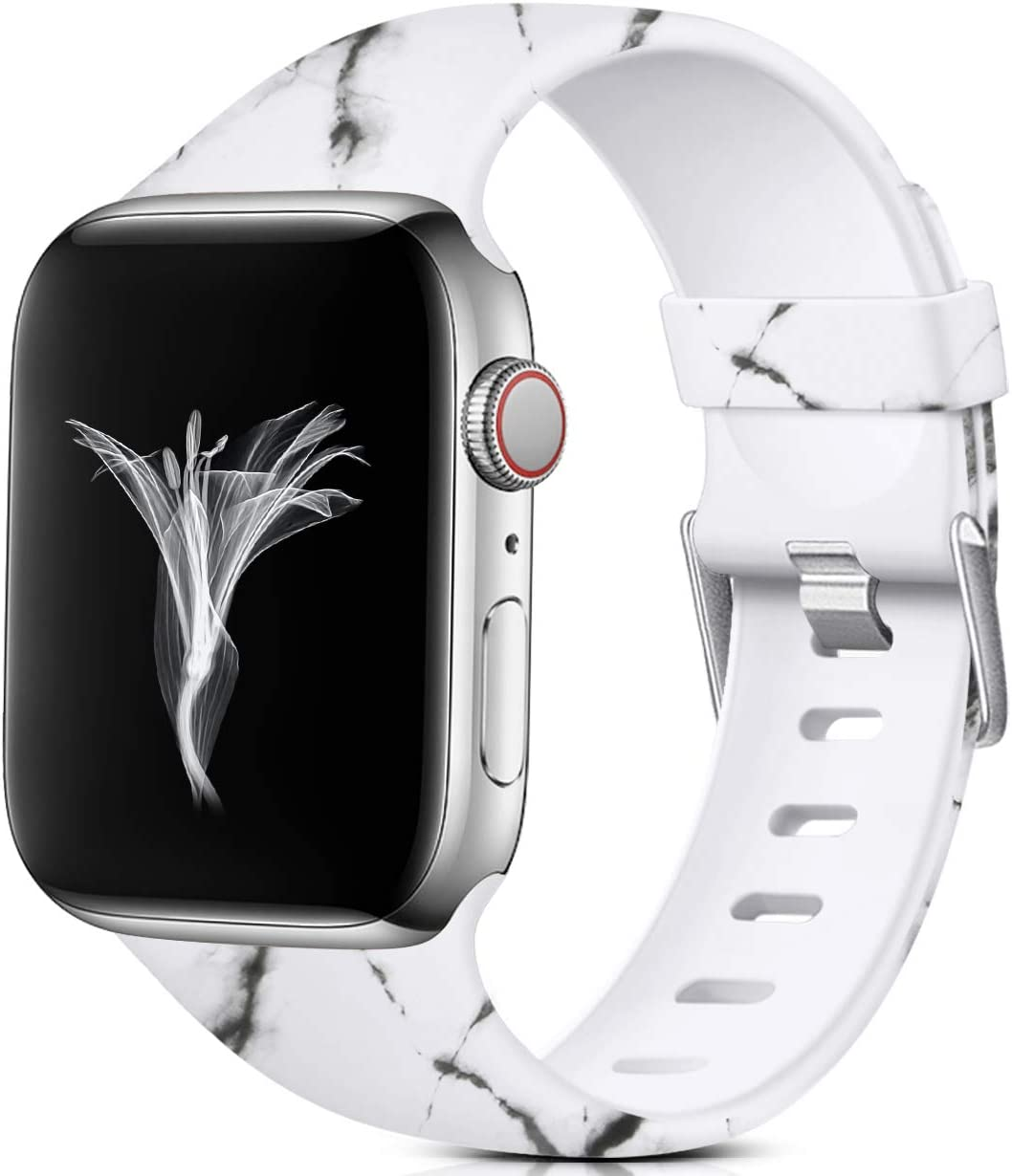 Nofeda Floral Bands Compatible with Apple Watch 40mm 38mm for Women Men, Soft Fadeless Pattern Printed Sport Band Replacement for iWatch Series 5,4,3,2,1, S/M, White Marble