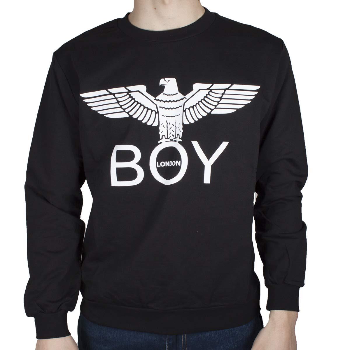 Boy London Felpa Uomo Nero Girocollo Stampa con Logo BLU6005