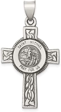 Large Saint Michael Protect Us Medal 925 Sterling Silver Religious Charm Pendant